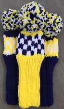 """3 HAND KNIT 8"""" GOLF HEAD COVERS YELLOW WHITE NAVY BLUE HYBRID IRONS FUN GIFT"""