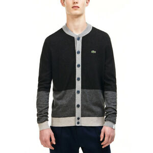 LACOSTE L!VE Grey Bomber Neck Colourblock Wool Cardigan Mens Size XS