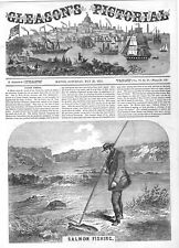 Salmon Fishing  -  King of Fishes  -  1854 Antique Print