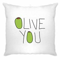 Valentines Day Cushion Cover Olive You Slogan Funny Couples Food Pun