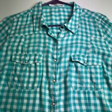 Maurices Women Long Sleeve Button Shirt 1 Blue White Gingham Plaid Pocket Snaps