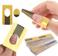 100x Nail Forms Sticker Guide Nail Art Gold Self Adhesive Acrylic Tips UV Gel UK