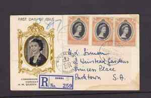 Nyasaland 1953 FDC 1st day cover to South Africa QE II Coronation Uncertain