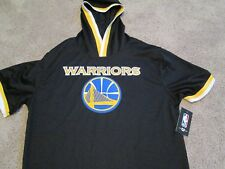 NEW GOLDEN STATE WARRIORS WARM UP HOODIE S/S SHIRT  MD BLK/BLUE/YLW FREE SHIP