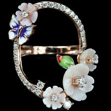 CARVED MOTHER OF PEARL ,WHITE CZ 925 STERLING SILVER ENAMEL BUTTERFLY RING 8.25
