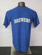 Vintage Teamwork Athletic Apparel #77 Size L 42-44 50/50 Brewers Blue Striped