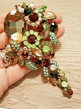 Bouquet Floral Rhinestone Brooch Crystal Flower Pin Extra Large