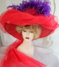 Scala Handmade Victorian Style Hat Reenactors Red Hat Events  Period Costume