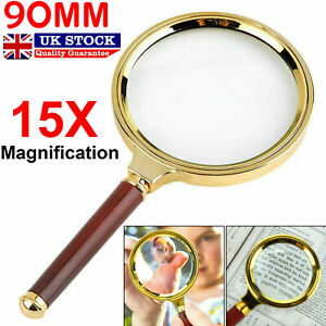 MAGNIFYING GLASS 15X MAGNIFIER HANDHELD LOUPE 90MM LARGE READING JEWELLERY AID