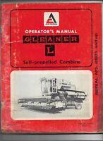 Original Allis Chalmers Gleaner Model L Self Propelled Combine Operator's Manual