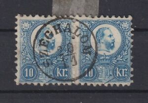 Hungary pair of 10kr sc #10 used perhaps the best in existence! (Y150)
