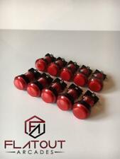 10 x 24mm / 28mm Round 12v LED Arcade Buttons & Microswitches (RED) - MAME