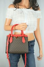 MICHAEL KORS MOTT MEDIUM MESSENGER SATCHEL BAG MK SIGNATURE BROWN CORAL RED