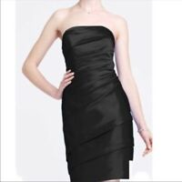 David's Bridal black satin strapless ruched dress knee length size 16