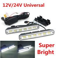 2pcs White Universal DC 12V/24V COB LED Daytime Running Light Super Car DRL Lamp