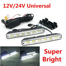 2pcs White Universal DC 12V/24V COB LED Daytime Running Light Super Car DRL Lamp
