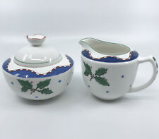 Mikasa Creamer Jug Sugar Bowl Set Christmas Glow Pattern Holly 1990s Unused