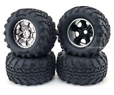 HPI Savage XL Flux Warlock Black Chrome Wheels GT2 Mounted Tire 105801 4462