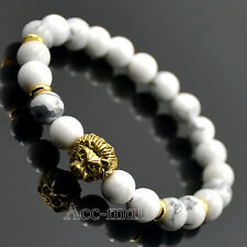 Men's White Turquoise Gemstones Gold Lion Head Beaded Yogo Stretch Bracelet 8""