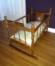 Vintage wood doll rocking cradle with hand made mattress