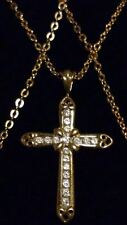 """Gorgeous 9ct 375 Yellow Gold & Clear Stones Encrusted Cross Pendant on 17"""" Chain"""