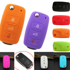 Silicone Car 3Button Key Cover Case Shell For VW Golf Bora Jetta POLO GOLF Skoda