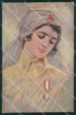 Militari WW1 WWI Crose Rossa CRI Nurse Vecchi cartolina XF8535