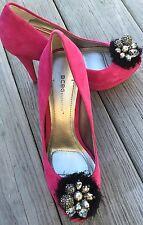 New BCBGeneration Scottie Pink Suede Heels Black Silver Bling sz 7.5 B/37.5 EUR