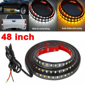 Amber/White 48'' 120-SMD LED DRL Turn Signal Lamp Car Side  Light Strip 12V
