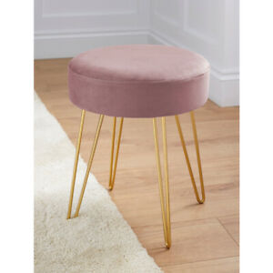 Small Velvet Stool Pink with Four Gold Metal Legs
