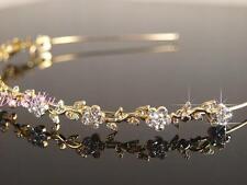 Bridal Prom Wedding Crystal Flower Gold Plated Headband Tiara Bridemaid T055G