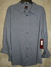 NEW Hawk Long Sleeve Button front shirt Dark Blue Solid 1 Pocket XXL mens