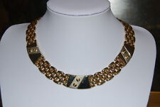 Necklace With Silver Toned Adornments Bars Vintage Large Gold Toned Metal Choker
