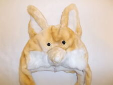 PLUSH FOX HEAD WINTER HAT W/ EARFLAPS ADULT'S LIGHT BROWN CUTE!!