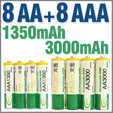 8 AA + 8 AAA 1350mAh 3000mAh 1.2V NI-MH Rechargeable Battery 2A 3A BTY Green