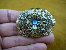 #CB-FLO-2 FLOWER daisy BLUE stone brass Barrettes French barrette
