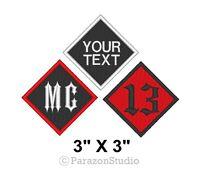 "Custom Embroidery Name Tag Diamond MC 13 Motorcycle Biker Patch 3"" X 3"""