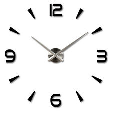 3d DIY Wall Clock Home Modern Decoration Crystal Mirror Stickers Living Room ZY Black