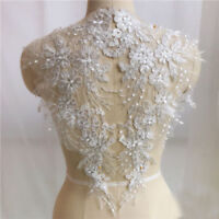 Left+Right White Lace Applique Embroidery Sewing Motif DIY Wedding Bridal Crafts