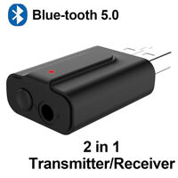 USB Blue-tooth 5.0 Transmitter Receiver Stereo Audio Adapter AUX 3.5mm TV CAR PC