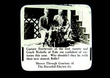 2 Magic Lantern Slides Yale Sculling Rowing Captain & Coach Nickalls Mascot 1915
