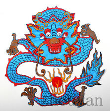 "Rare! 12"" Vintage Quilt Fabric Block Embroidery China Royal Blue China Dragon ="