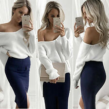 Sexy Women Off Shoulder Baggy Loose Irregular Tops Casual Knitted Sweater Jumper