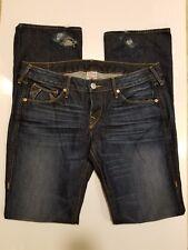 True Religion Johnny Destroyed Button Dark Wash Boot Cut Women's Jean - SIze 31
