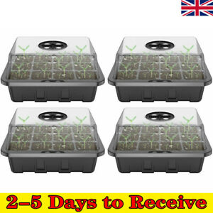 12 Cells Seed Trays Set Seedling Starter Tray Germination Plant Pots Grow Box RD