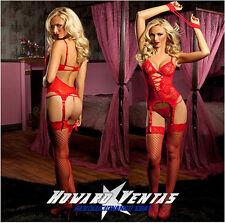 Lenceria Sexy Ropa intima Rojo Roja Tanga Vestido Esposas Encaje Envio España