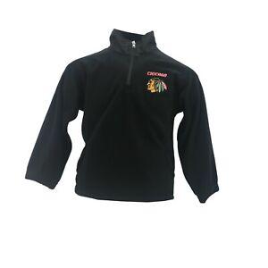 Chicago Blackhawks Official NHL Reebok Youth Kids Size Quarter Zip Fleece Jacket