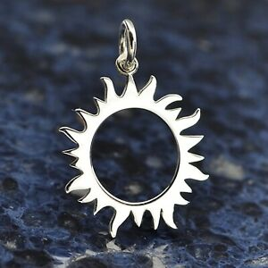Sterling Silver Solar Eclipse Sun Moon Pendant Necklace Lunar Celestial 4024