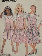 Easy VTG 80s BUTTERICK 4891 Girls Drop-waist Jumpers & Tops PATTERN 12-14