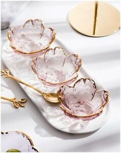 Small Glass Dish Nordic Style Gold Inlay Glass Sauce Bowl Mini Japanese Cherry